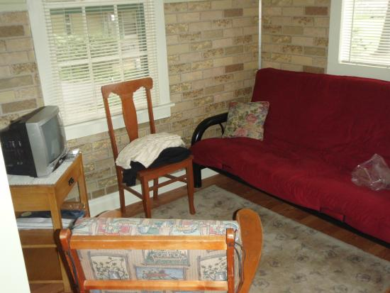 Pine Grove Cottages: Clottage Living Room with Futon