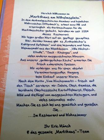 Begrüßung in der Karte. - Bild von Markthaus am Wilhelmsplatz ...