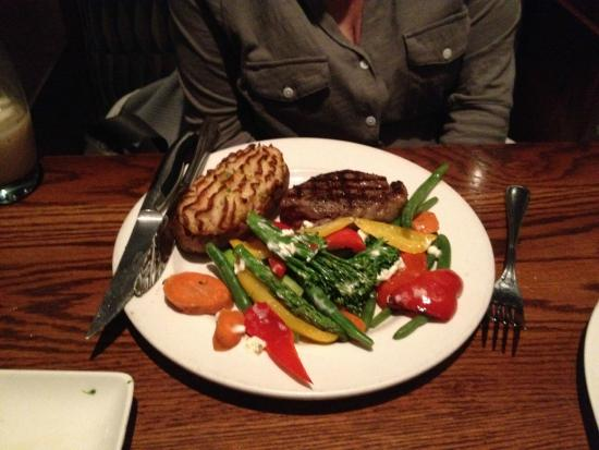 Keg Steakhouse & Bar: Manhattan, with 2 sides, Twice Baked Potato, and Garden Veggies