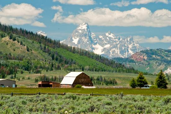 Teton Valley Cabins: Views of the Tetons - just around the corner from the Cabins