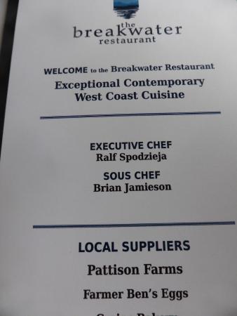 Ocean7 Restaurant, AQUA Bistro & Wine Bar: Note these names.
