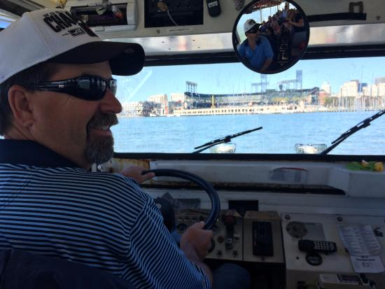 Ride The Ducks of San Francisco: Husband driving the Duck in McCovey Cove (they do allow guests to drive in the water)