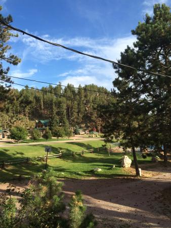 Black Hills Cabins and Motel at Quail's Crossing: View of partial grounds from motel deck