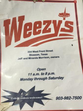 Weezy's in Blossom, Texas