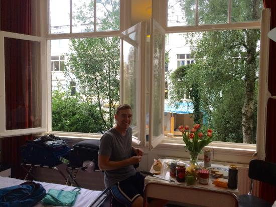 The Collector Bed & Breakfast: enjoying a small meal in our room in front of those big windows