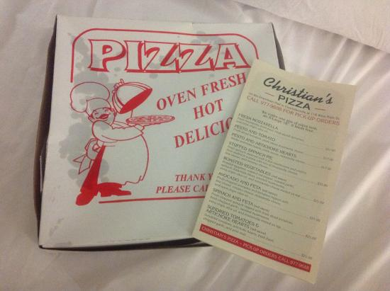 Christian's Pizza: To-go box and menu