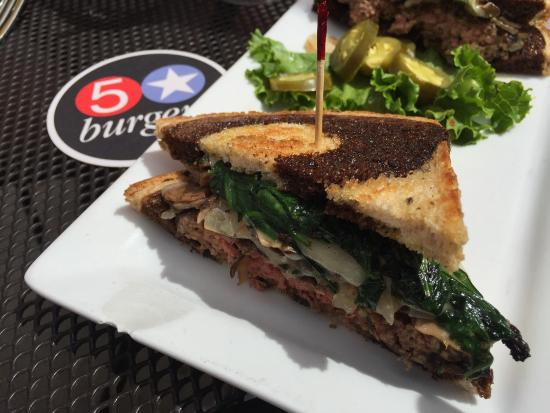 5 Star Burgers: Hamburger of the month; patty melt on rye.  I added sautéed spinach and mushrooms to the carmeli