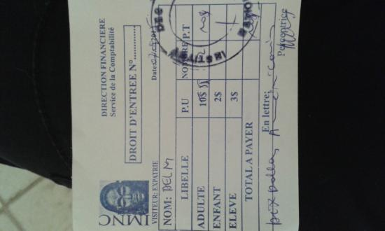 Musée National de Kinshasa (National Museum) : Our receipt for paying the entrance fee, make sure you get one