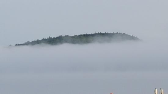 Balsam Cove Campground: Morning fog from shore