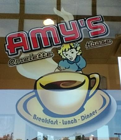 Amy's Omelette House: Amy's logo on the door to welcome you.