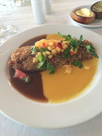 stake fish with amaranth served with tamarindo and mango sauce rh tripadvisor com