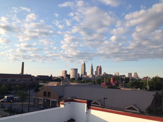 The Cleveland Hostel: View from the roof of the sun setting on downtown Cleveland