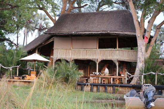 Jacana Tented Safari Camp: our welcome - lovely bar and lounge area on the water