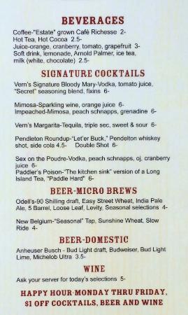 Laporte, CO: Beverage menu - Sept 15