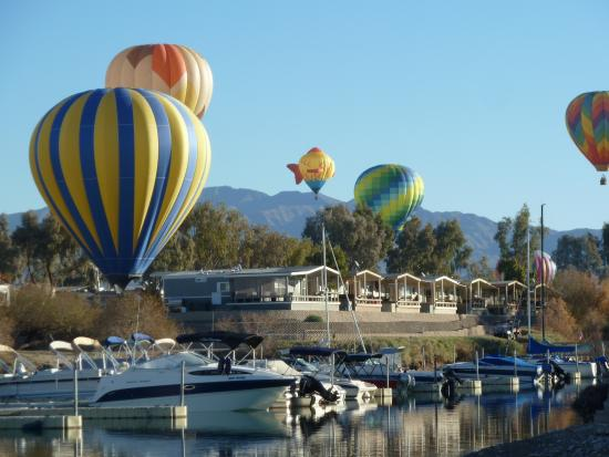 Islander Resort: January Balloon Festival over our Resort and marina!