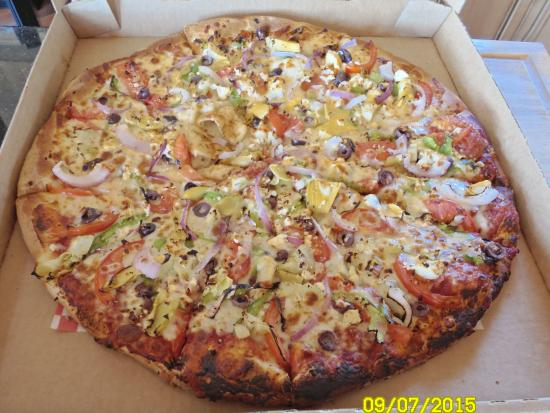 Upper Crust Pizza: Mediterranean (No Sauce) Tomatoes, Artichoke Hearts, Red Onions, Garlic, Oregano, Kalamata Olive