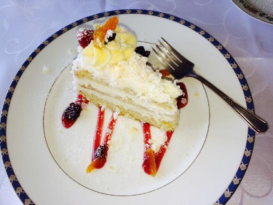 Maria D'anna Cafe: Polish platter split for two, delicious coconut cake, pierogi and salad split for two.  Upscale,