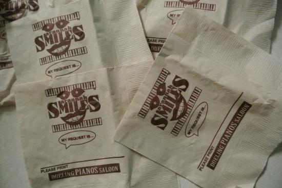 Savannah Smiles Dueling Pianos Saloon: Songs Request Napkins
