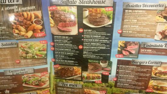 Menu picture of buffalo grill nanteuil les meaux - Carte restaurant buffalo grill ...