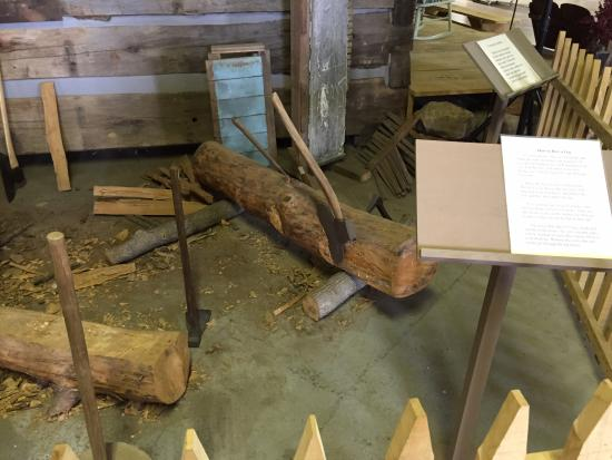 Dubois County Museum: Log-hewing display.