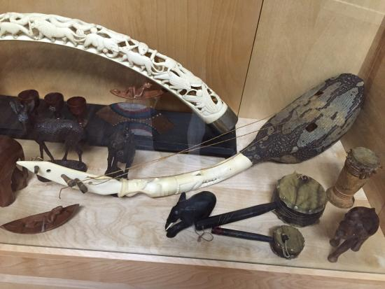 Jasper, IN: Musical instruments in the Safari room.
