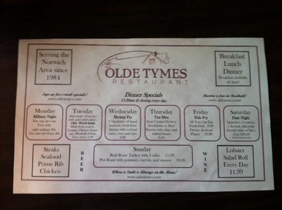 Olde Tymes Restaurant: placemat