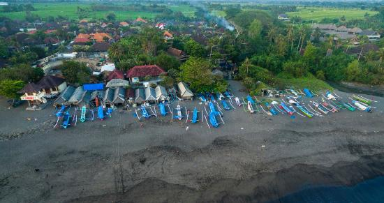 Pantai Lima Villas: aerial view echo beach boat storage by drone