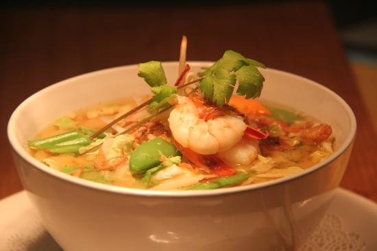 Asian soup from Barassis Restaurant at Cazalys Cairns