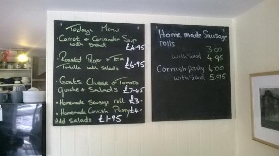 The Castle Kitchen: menu board 9 Sept 2015 - clear and simple