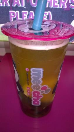 Mee Cha Limited: Pineapple bubble tea with grass jelly + tapioca pearls + pudding + red bean