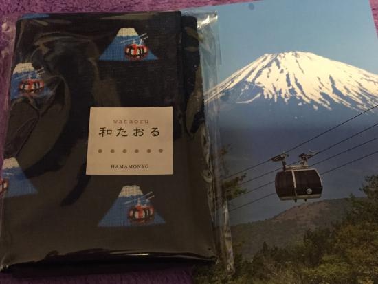 Hakone Ropeway: 登山電車のホームで売られていた箱根ロープウェイグッズ。