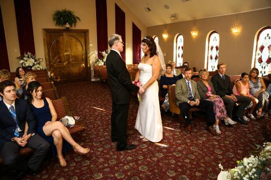 In front of the vegas wedding chapel the terrace gazebo for 702 weddings terrace