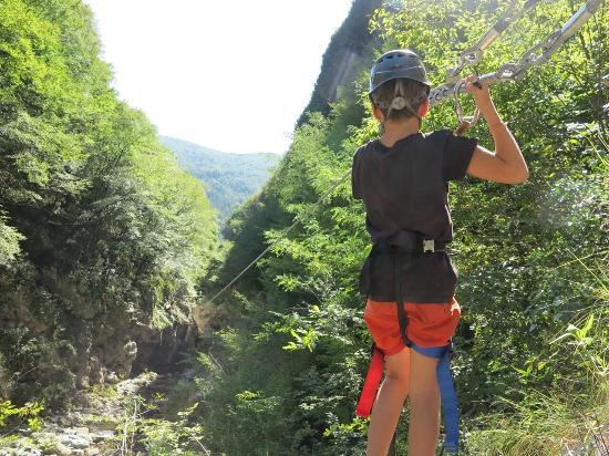 the long zip line ABOVE the river - Picture of Canyon Park, Bagni di ...