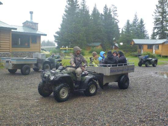 Silver Salmon Creek Lodge: Bear photographers (and fishermen) are transported on little carts.
