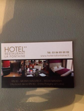 Hotel La Fontaine Carte De Visite