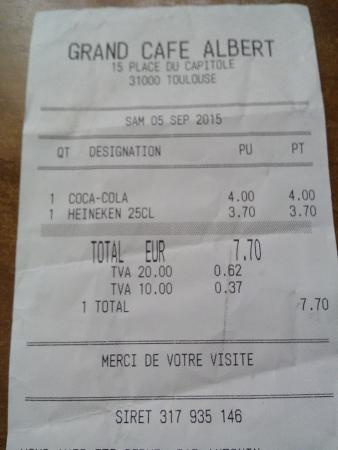 Ticket consumici n photo de caf albert toulouse - Avis cuisiniste a eviter a toulouse ...