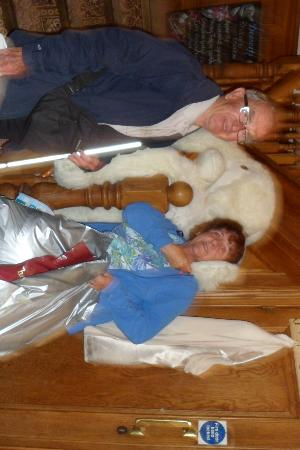 The Globe Inn: Peter and Denise with large toy rabbit that hangs on the stairs