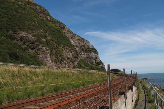 Whitehead, UK : Train line north.