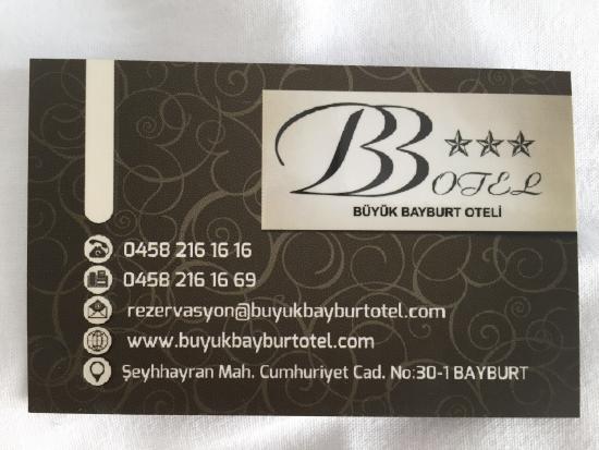 Visitenkarte Picture Of Buyuk Bayburt Hotel Tripadvisor