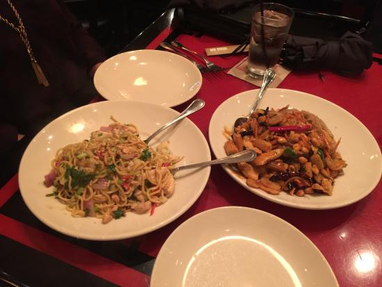 Big Bowl Chinese and Thai: Thai red chili noodles and kung pao stir fry