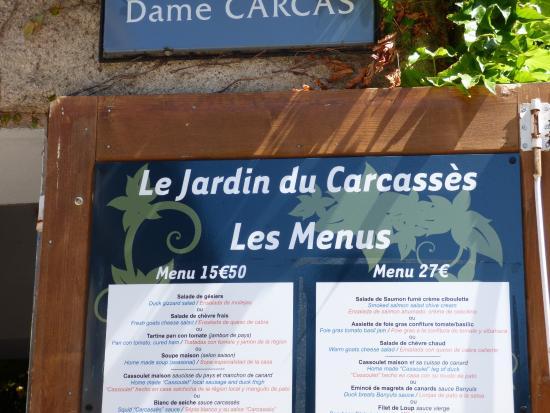 Menu photo de le jardin du carcasses carcassonne center for Jardin lee menu livraison