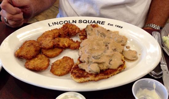 Lincoln Square Pancake House : Pork Tenderloin with mushroom gravy and potato pancakes.
