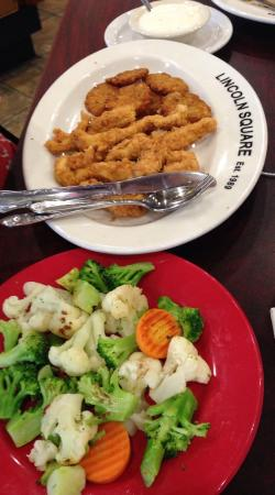 Lincoln Square Pancake House: Chicken tenders meal with potato pancakes and veggies