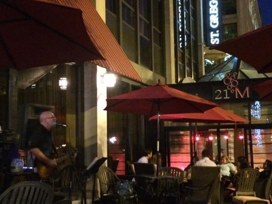 M Street Bar & Grill: We were strolling along M Street when we heard some good Rock n Roll on the patio. We had burger