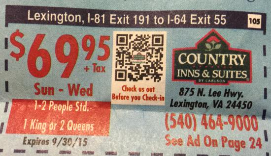 Country Inn & Suites By Carlson, Lexington: COUPON THAT DOESN'T WORK YET THEY HAD ROOMS AVAILABLE