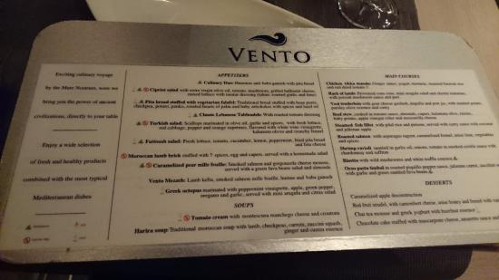 Dinner Menu At Vento Picture Of Paradisus Playa Del