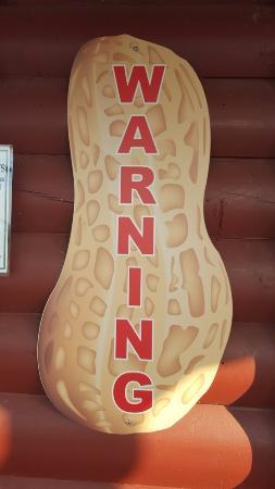 Grumps Burgers: Peanut warning sign