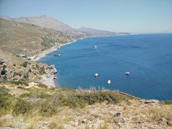 Monachus Monachus Apartments: View on top of Orthi Amos (Frangakostello)