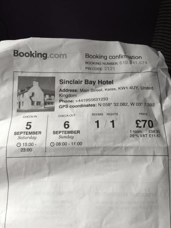 Sinclair Bay : Booking form front page