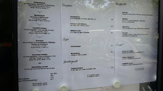 Hotel Restaurant Zirbelstube : The menue september 15. Starters 9-12€ ; Soups: 6-8€ ; Mains: 18-30€ ; Desserts: 9-12€;